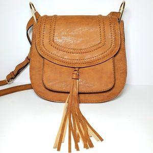 Brown crossbody braided tassel handbag